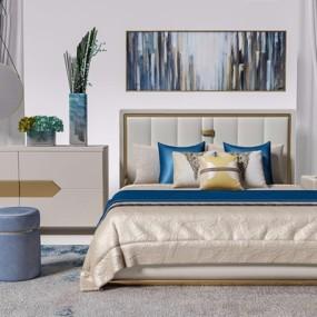 现代床具床头柜边柜组合3D模型【ID:728302000】