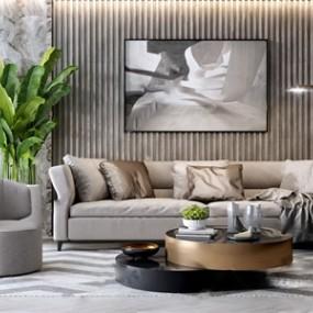 现代轻奢沙发茶几组合 3D模型【ID:641632793】