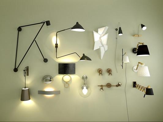現代超簡約壁燈床頭燈照畫燈組合3D模型【ID:527994982】