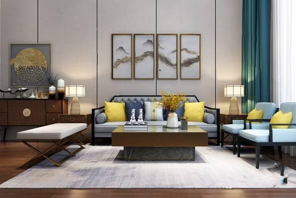 中式沙发茶几组合3D模型【ID:624893033】