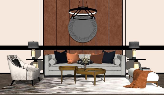 现代沙发茶几组合SU模型【ID:745896612】