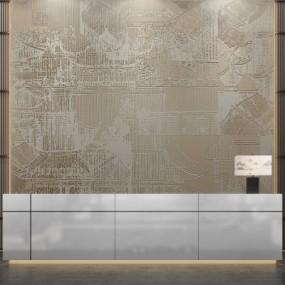 新中式售楼处前台服务台背景墙壁灯3D模型【ID:727812738】