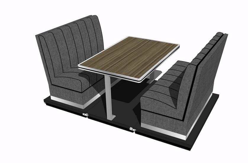 卡座餐桌SU模型【ID:636772611】