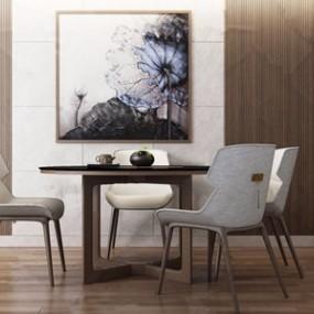 新中式餐桌椅 3D模型【ID:841547819】