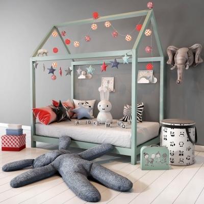 北歐實木兒童床3D模型【ID:728470124】
