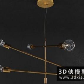 现代金属吊灯国外3D模型【ID:829478797】