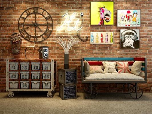 loft工业复古沙发柜子灯具组合3D模型【ID:828125984】