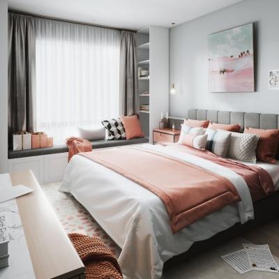 北歐臥室雙人床床頭柜擺件組合3D模型【ID:127776354】