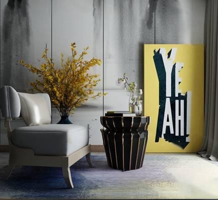 现代单人沙发3D模型【ID:920616619】