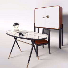 现代轻奢书桌椅3D模型【ID:128398979】