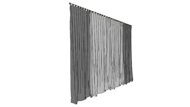 灰色transper窗簾SU模型【ID:938727474】
