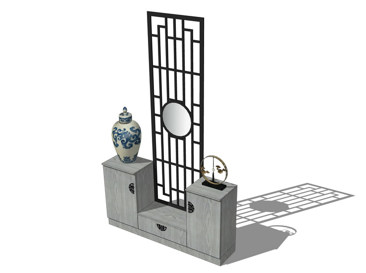 中式玄关柜SU模型【ID:236775239】