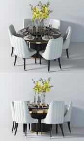 现代圆形餐桌椅餐具桌花组合3D模型【ID:327786464】