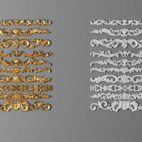 欧式金属石膏雕花组合3D模型【ID:827814685】