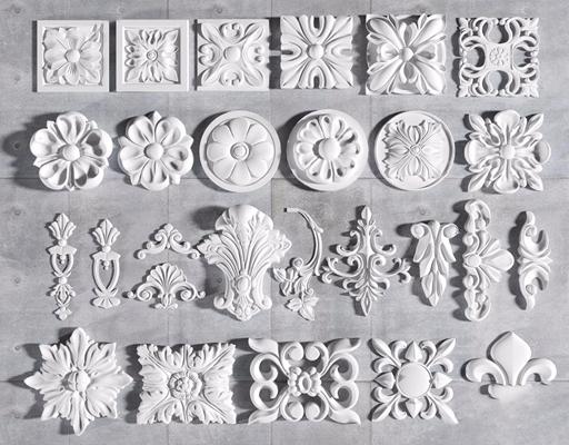 歐式雕花方形圓形雕花組合3D模型【ID:328246829】