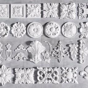 欧式雕花方形圆形雕花组合3D模型【ID:328246829】