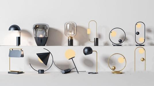 现代创意台灯组合3D模型【ID:836237107】