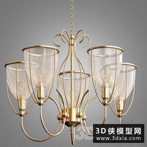 歐式金色吊燈國外3D模型【ID:829322709】