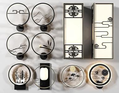 新中式壁灯组合3D模型【ID:732391963】
