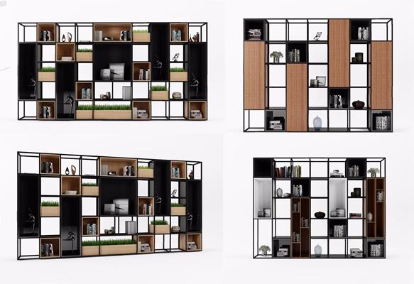 铁艺书柜置物架3D模型【ID:928193513】
