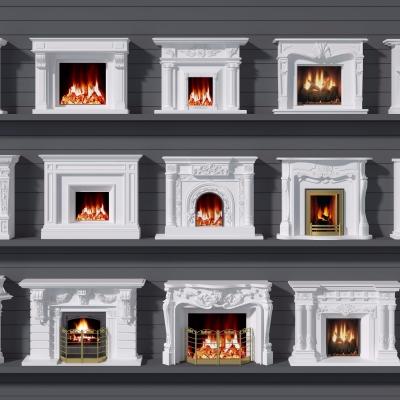 欧式壁炉组合3D模型【ID:828473182】