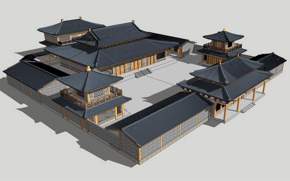 中式古庙SU模型【ID:836779656】