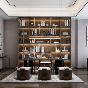 新中式茶室3d模型【ID:547405940】