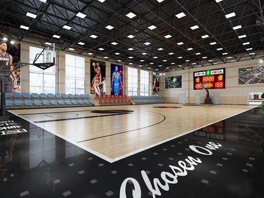 現代室內籃球館3D模型【ID:328217079】