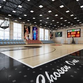 现代室内篮球馆3D模型【ID:328217079】