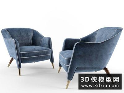 现代休闲椅国外3D模型【ID:729414829】
