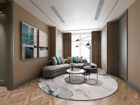 現代休息室弧形沙發茶幾落地燈組合3D模型【ID:327785402】
