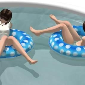 泳池人物SU模型【ID:845619061】