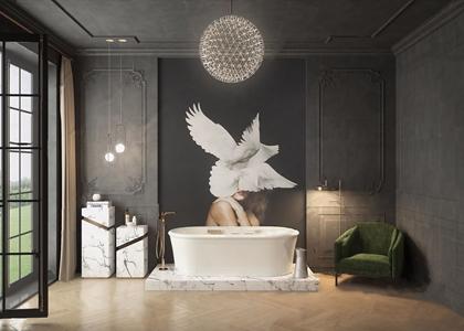 欧式高级轻奢卫生间 欧式古典卫浴 浴缸 单人沙发 椅子 淋浴头 吊灯 摆件