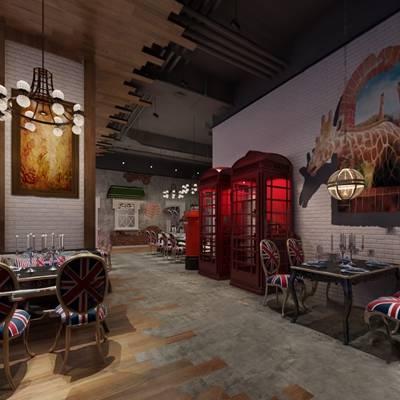 美式餐厅3D模型【ID:120614826】