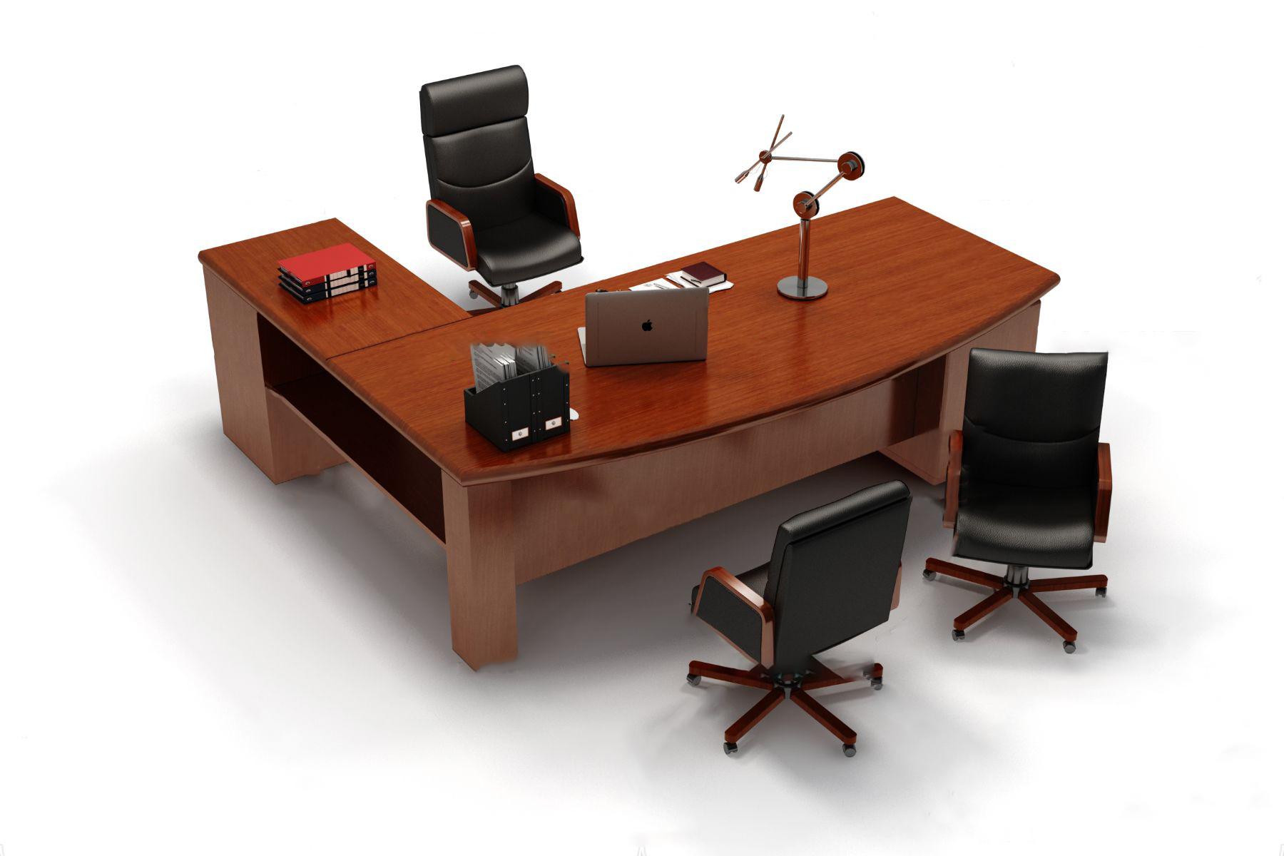 现代大班台办公桌椅3D模型【ID:243426471】