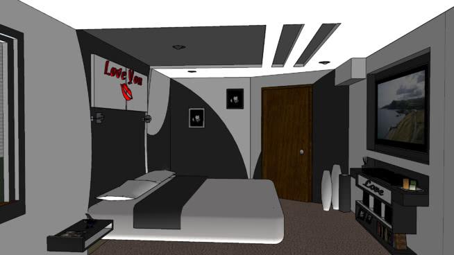 定制主卧室创意墙和天花板SU模型【ID:538741022】