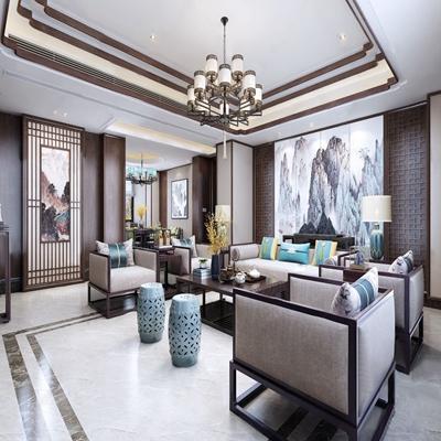 新中式客餐厅 新中式客餐厅 多人沙发 茶几 单人沙发 鼓凳 花艺 吊灯 角几 台灯 餐桌 餐椅 挂画 雕塑 边柜 饰品摆件