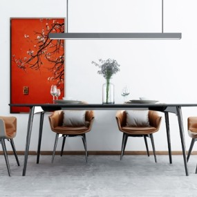 現代條形餐桌椅3d模型【ID:848246805】