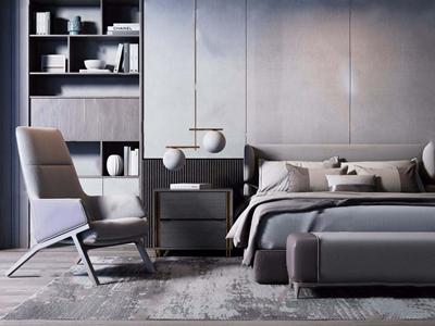 现代奢华双人床休闲椅组合 现代双人床 休闲椅 床头柜 吊灯 装饰柜 书籍