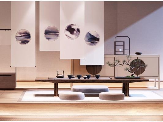 新中式茶桌邊柜3D模型【ID:628047024】