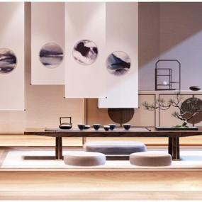 新中式茶桌边柜3D模型【ID:628047024】