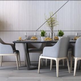 北欧简约方形六人台餐桌椅3D模型【ID:328440458】