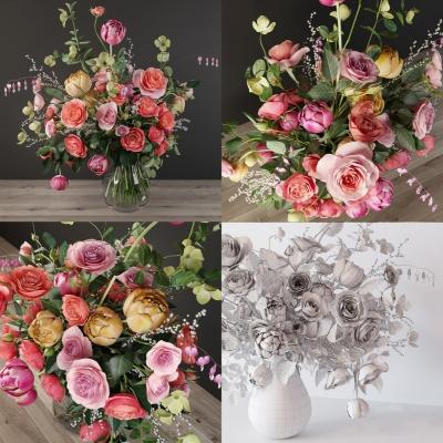 现代玫瑰花玻璃花瓶3D模型【ID:328437866】