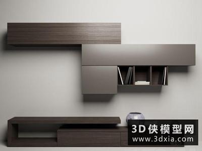 现代电视柜组合国外3D模型【ID:829406043】