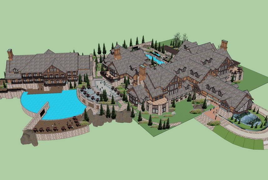 英伦城堡式星级度假酒店SU模型【ID:336785515】