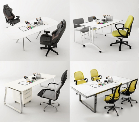 現代辦公桌椅文具組合3D模型【ID:227882959】
