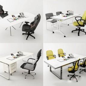 现代办公桌椅文具组合3D模型【ID:227882959】