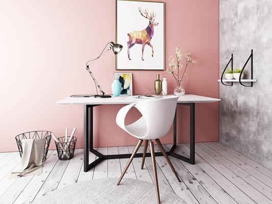 北欧现代书房桌椅3D模型【ID:127844980】