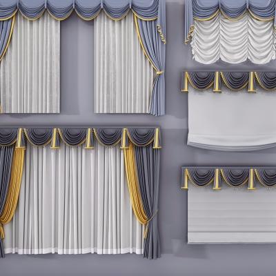 歐式布藝窗簾組合3D模型【ID:327791861】