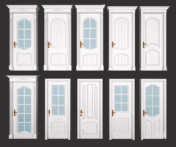 簡歐房門玻璃門單開門3D模型【ID:348245135】